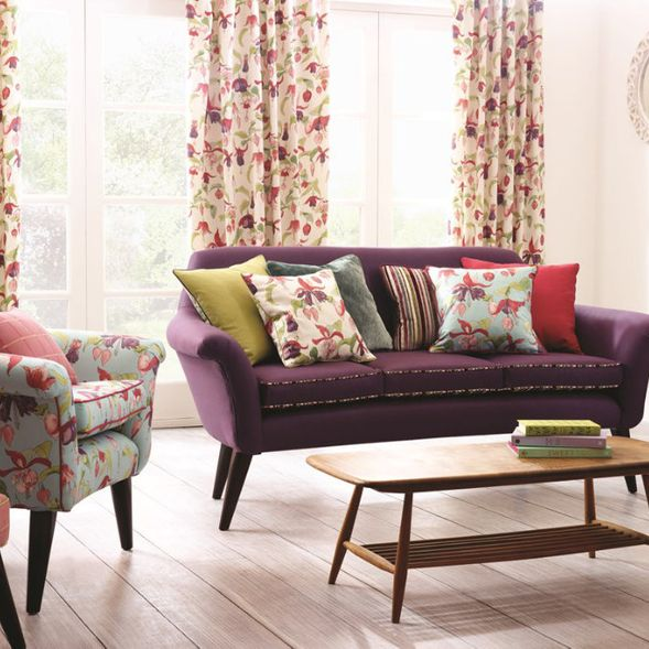 Sofa Couch Sessel Uni Floral Stoff